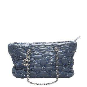 Chanel Blue Leather/Tweed On Stitch Paris-Byzance Tote Bag
