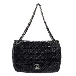 Chanel Black Vinyl Rock in Moscow Jumbo Classic Flap Bag