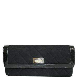 Chanel Black Canvas East West Boy Clutch