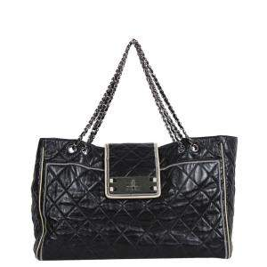 Chanel Black Leather East West Large Tote Bag