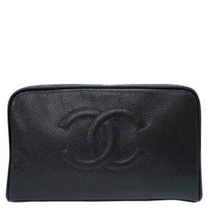 Chanel Black Caviar Leather Clutch Bag