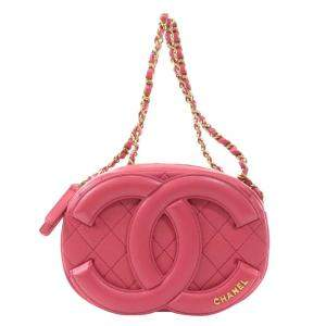 Chanel Pink Lambskin Leather CC Shoulder Bag