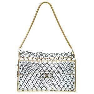 Chanel Black/Gold Beaded Vintage Cage Chain Bag