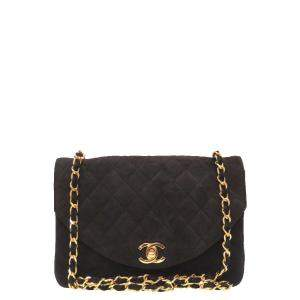 Chanel Black Suede Quilted Chain Shoulder Bag