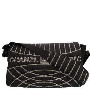 Chanel Black Sports Line Nylon Shoulder Bag