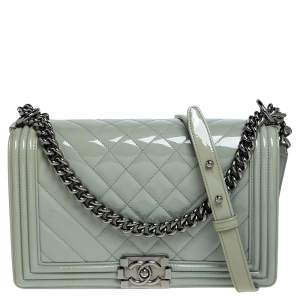 Chanel Grey Quilted Patent Leather New Medium Boy Flap Bag