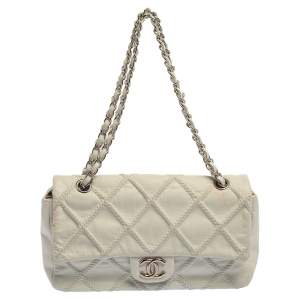 Chanel White Quilted Leather East West Single Flap Bag