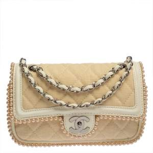 Chanel Beige/Ivory Quilted Canvas and Leather Faux Pearl Double Flap Shoulder Bag