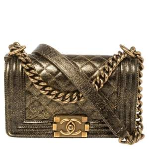 Chanel Gold Quilted Crackled Leather Small Boy Flap Bag