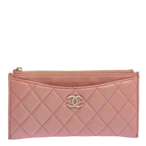 Chanel Pink Shimmer Caviar Quilted Leather CC Timeless Wallet