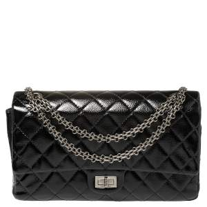 Chanel Black Quilted Glazed Caviar Leather Reissue 226 Double Flap Bag