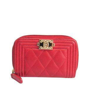 Chanel Red Leather Boy Small Wallet