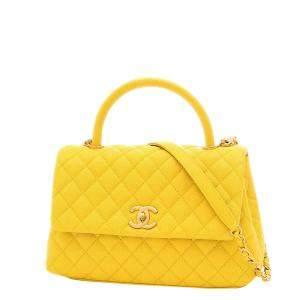 Chanel Yellow Caviar Leather Top Handle Bag