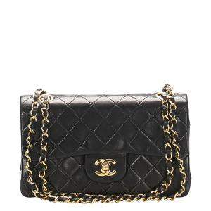 Classic Black Lambskin Leather Classic Double Flap Bag