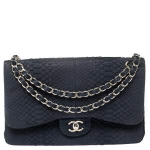 Chanel Navy Blue Python Jumbo Classic Double Flap Bag
