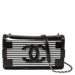 Chanel Black/White Striped Plexiglass and Patent Leather East/West Boy Brick Flap Bag