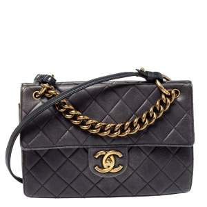Chanel Grey Quilted Caviar Leather`Chain Top Handle Bag