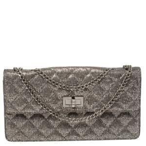 Chanel Silver Quilted Glitter Leather Reissue Flap Bag