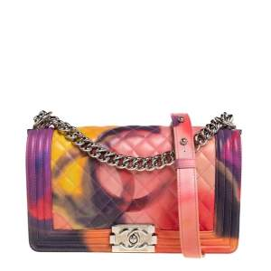 Chanel Multicolor Quilted Leather Medium Flower Power Boy Bag