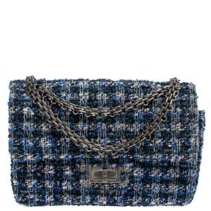 Chanel Blue/White Quilted Tweed Reissue 2.55 Classic 224 Flap Bag