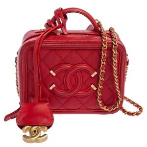 Chanel Red Quilted Caviar Leather Small CC Filigree Vanity Case Bag