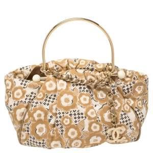 حقيبة هوبو شانيل يد معدنية كانفاس مطبوع بيج / بنية