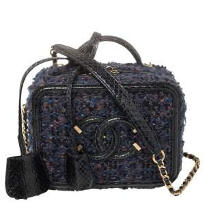 Chanel Blue Tweed and Snakeskin Mini CC Filigree Vanity Case Bag