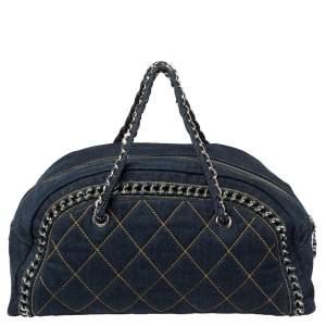 Chanel Navy Blue Denim Large Chain Trim Luxe Ligne Bowler Bag