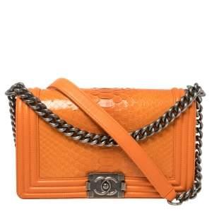 Chanel Orange Python and Leather Medium Boy Flap Bag