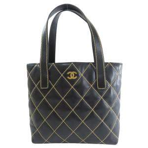 Chanel Black Leather Wild Stitch Tote Bag