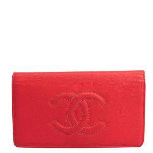 Chanel Pink Caviar Leather Wallet