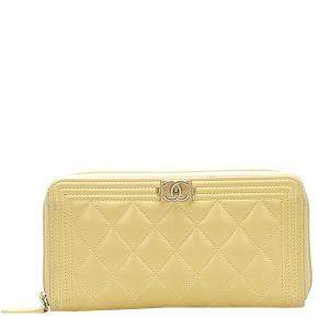 Chanel Yellow Lambskin Leather Boy Wallet