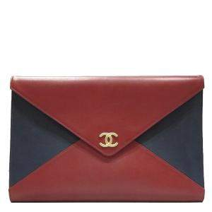 Chanel Red/Blue Lambskin Leather CC Envelope Clutch Bag