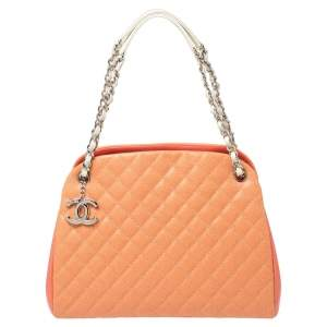 Chanel Tri Color Quilted Caviar Leather Medium Just Mademoiselle Bowler Bag
