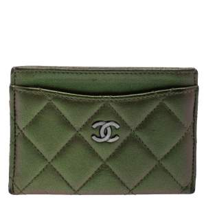 Chanel Metallic Green Quilted Leather CC Card Case