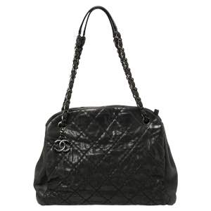 Chanel Dark Grey Shimmer Leather Large Just Mademoiselle Bowling Bag