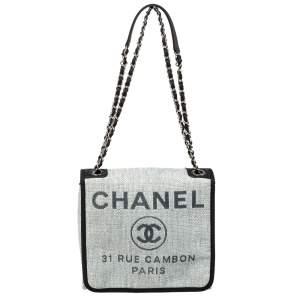 Chanel Grey Raffia Deauville Messenger Bag