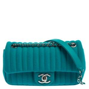 Chanel Aqua Green Vertical Quilted Jersey New Mini Flap Bag