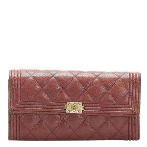 Chanel Red Lambskin Leather Boy Wallet