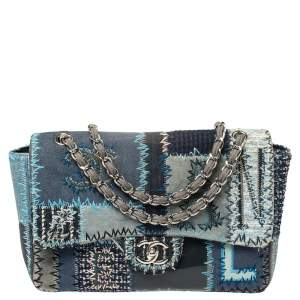 Chanel Blue Fabric/Canvas and Leather Patchwork Jumbo Classic Flap Bag