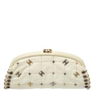 Chanel Cream Leather CC Punk Timeless Clutch