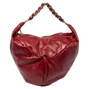 Chanel Dark Red Leather Rock and Chain Hobo