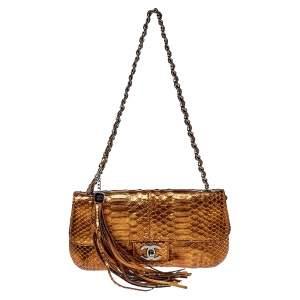 Chanel Metallic Bronze Python Tassel Flap Bag