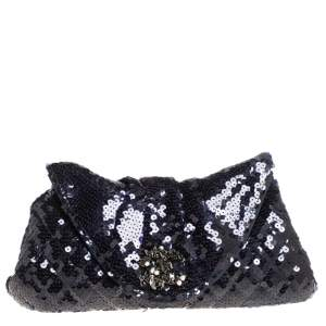Chanel Navy Blue Sequins CC Half Moon Clutch