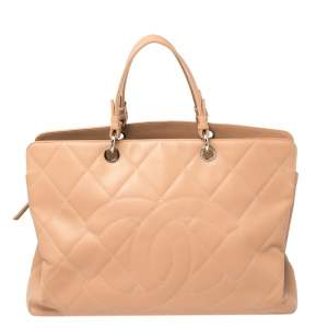 Chanel Beige Quilted Caviar Leather CC Timeless Tote
