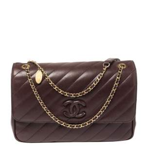 Chanel Burgundy Diagonal Quilted Leather Coco Jumbo Flap Bag