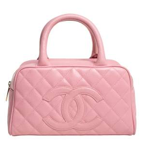 Chanel Pink Quilted Caviar Leather CC Bowler Bag