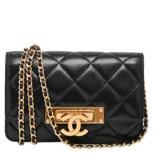 Chanel Black Quilted Lambskin Leather Golden Class WOC Clutch Bag