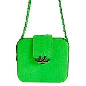 Chanel Neon Green Python Leather CC Box Camera Bag