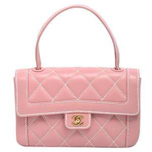 Chanel Pink Wild Stitch Leather Small Flap Top Handle Bag